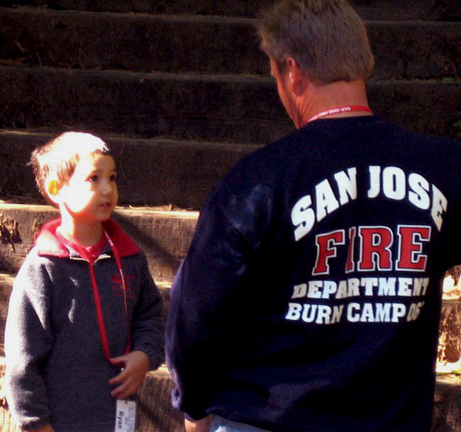 San Jose Firefighter Burn Foundation Member with Child